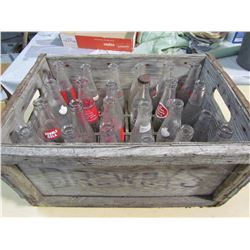 LOT OF 24 POP BOTTLES IN WOOD CASE (MISSION BEVERAGES, RC COLA, STUBBY, ETC)