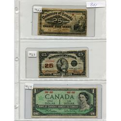 SHEET OF PAPER MONEY INCLUDING: 1900 25 CENT SHINPLASTER, 1923 25 CENT SHINPLASTER AND 167 CANADA ON