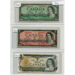 SHEET OF PAPER MONEY INCLUDING : CANADA ONE DOLLAR (1954), CANADA TWO DOLLAR (1954), CANADA ONE DOLL