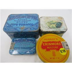 LOT OF 4 TOBACCO TINS (2 EDGEWORTH TINS, 1 SMALL AND 1 LARGER, 1 ERINMORE MIXTURE, & 1 ORINOCO)