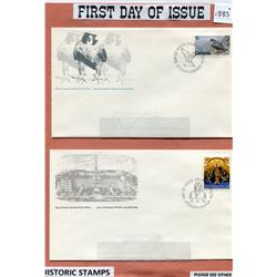 CANADA POST- FOUR FIRST DAY OF ISSUE ENVELOPES, HISTORIC STAMPS