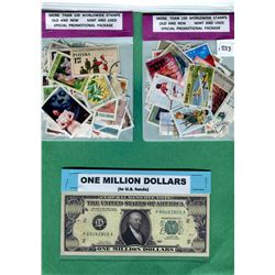 TWO 100 STAMP PACKAGES AND ONE MILLION DOLLAR PAUL REVERE NOTE