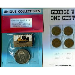 CANADA POST PINS, OILERS HOCKEY AND 4 GEORGE V ONE CENT COINS