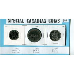 SPECIAL CANADIAN COINS 1972 25 CENT, 1973 1 DOLLAR, 1968 50 CENT COINS.