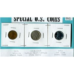 SPECIAL US COINS- 1914 ONE CENT, BUFFALO 5 CENT AND WAR TIME EMERGENCY ISSUE STEEL CENT