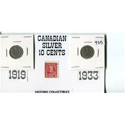 CANADIAN SILVER 10 CENTS- 1919 & 1933