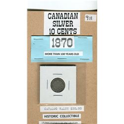 1870 CANADIAN SILVER 10 CENTS SCARCER DATE