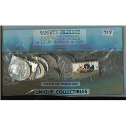 VARIETY PACKAGE OF AT LEAST 15 PIECES (COINS, TOKENS, MEDALS, HOCKEY DOLLARS, CANADA POST PINS, ETC…
