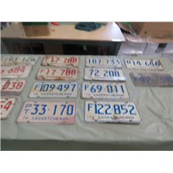 LOT OF 13 SASK LICENSE PLATES ( 1972, 1974, 1975, 1976)