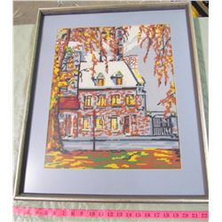 LARGE FRAMED CROSS-STITCH OF A HOUSE