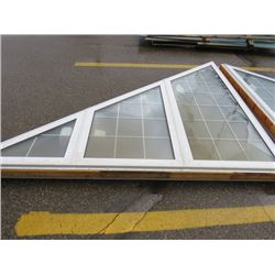 2 LARGE TRIANGLE WINDOWS ( EACH APPROX 9' X 8' ) *SOME GLASS MISSING*