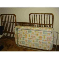 WOODEN BABY BED W/ BOX SPRINGS & MATTRESS