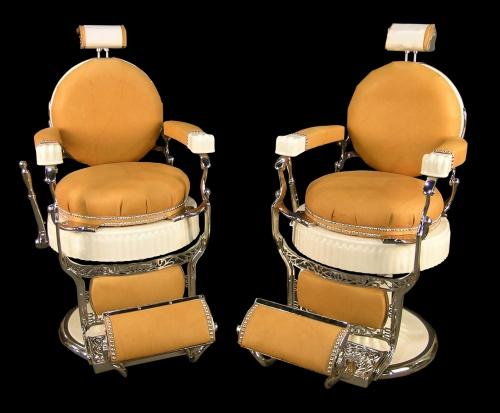 matched pair of koken president barber chair