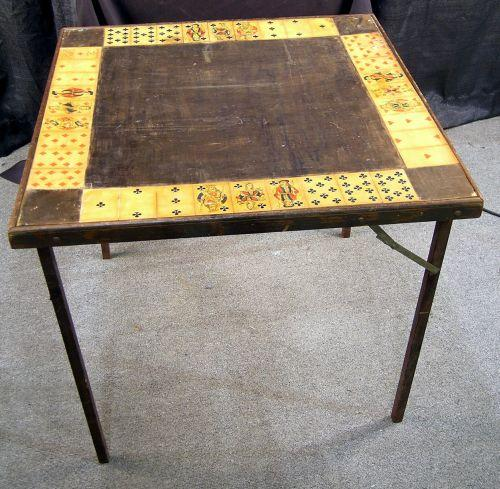 Old Folding Card Table Showing Playing Cards