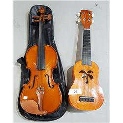 MAESTRO VIOLIN IN SOFT CASE AND UKELELE