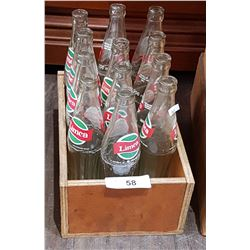 WOOD CRATE WITH 12 VINTAGE LIMCA POP BOTTLES