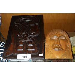 2 NATIVE CARVED PLAQUES SIGNED