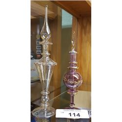 2 ART GLASS PERFUME BOTTLES