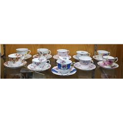 10 BONE CHINA TEA CUPS AND SAUCERS