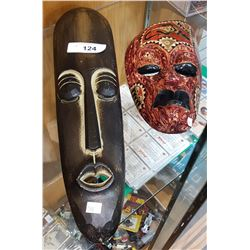 2 CARVED AFRICAN MASKS