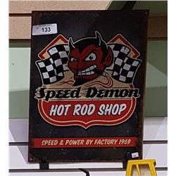 SPEED DEMON TIN SIGN