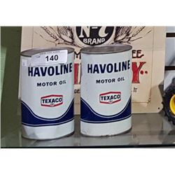 2 VINTAGE HAVOLINE MOTOR OIL QUARTS