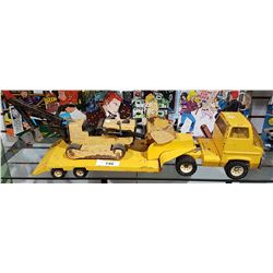 VINTAGE TONKA TRUCK AND HAULER WITH A CATERPILLAR