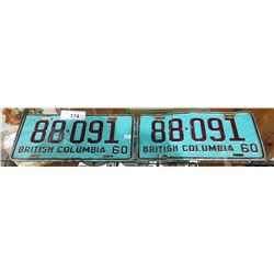 PAIR OF 1960 BRITISH COLUMBIA LICENSE PLATES