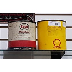 ESSO MARVELUBE LUBRICANT 1 POUND TIN AND SHELL AT GREASE 1 POUND TIN