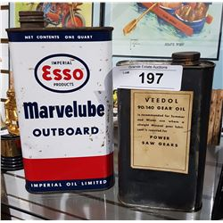 ESSO MARVELUBE OUTBOARD MOTOR OIL QUART AND VEEDOL GEAR OIL