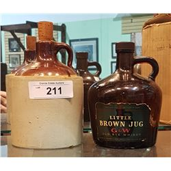 VINTAGE CROCKERIE JUG AND WHISKEY JUG