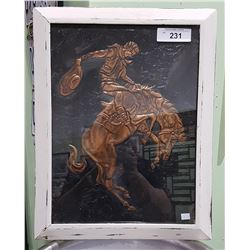 VINTAGE FRAMED COPPER PICTURE OF BRONK RIDER