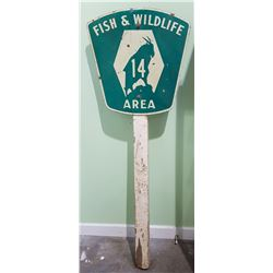 VINTAGE FISH AND WILDLIFE AREA HIGHWAY SIGN