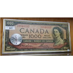 FRAMED $1000 BILL CLOCK