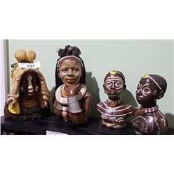4 AFRICAN BUSTS