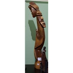CARVED WOOD AFRICAN STATUE