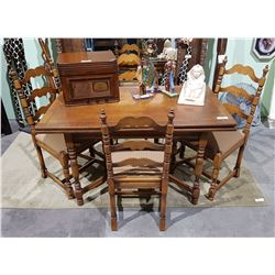 VINTAGE WALNUT DRAW LEAF TABLE AND CHAIRS