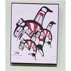 SIGNED LIMITED EDITION NATIVE PRINT OF KILLER WHALES
