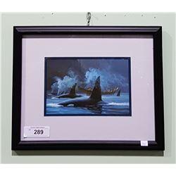 FRAMED PRINT OF HAIDA AND KILLER WHALES TITLED PASSING FRIEND
