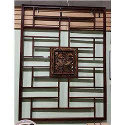 LARGE ASIAN ROSEWOOD SCREEN DEPICTING ASIAN PHEASANT