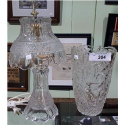 CRYSTAL LAMP AND LARGE CRYSTAL VASE