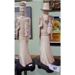 PAIR OF ASIAN FIGURES CARVED OUT OF BONE