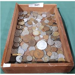 WOOD TRAY WITH WORLD COINS