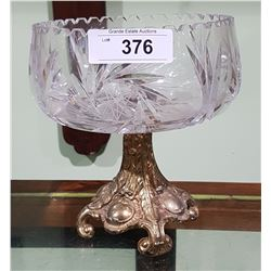 PINWHEEL CRYSTAL BOWL ON BRASS PEDESTAL