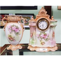 VICTORIAN PORCELAIN MANTLE CLOCK AND MATCHING VASE