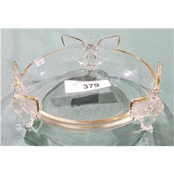 FIGURAL CRYSTAL BOWL WITH 24 KARAT GOLD TRIM