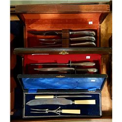3 VINTAGE CARVING SETS IN CASES