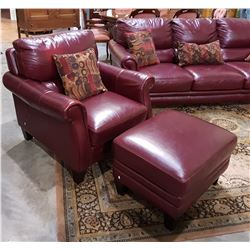 LAZY BOY LEATHER ARM CHAIR AND OTTOMAN