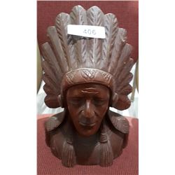 HIGHLY DETAILED CARVED WOOD STATUE OF NATIVE CHIEF