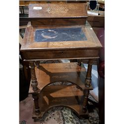 ANTIQUE INLAID 3 TIERED MAHOGONY WRITING DESK